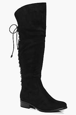 Annabel Lace Back Knee Boot