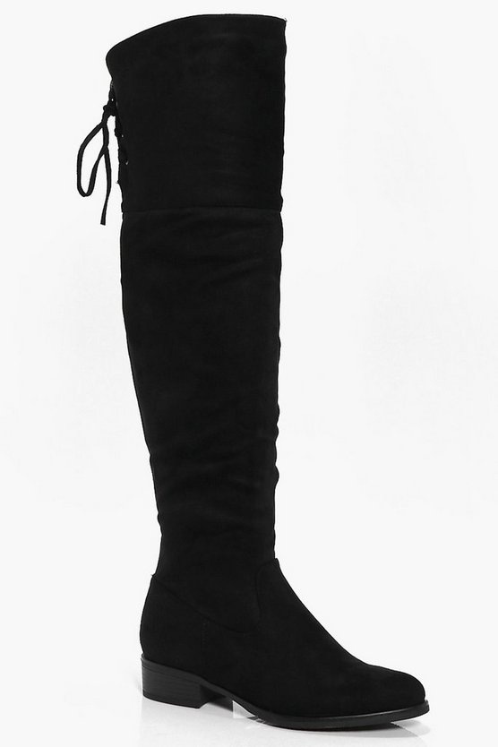 Violet Lace Back Over The Knee Boot