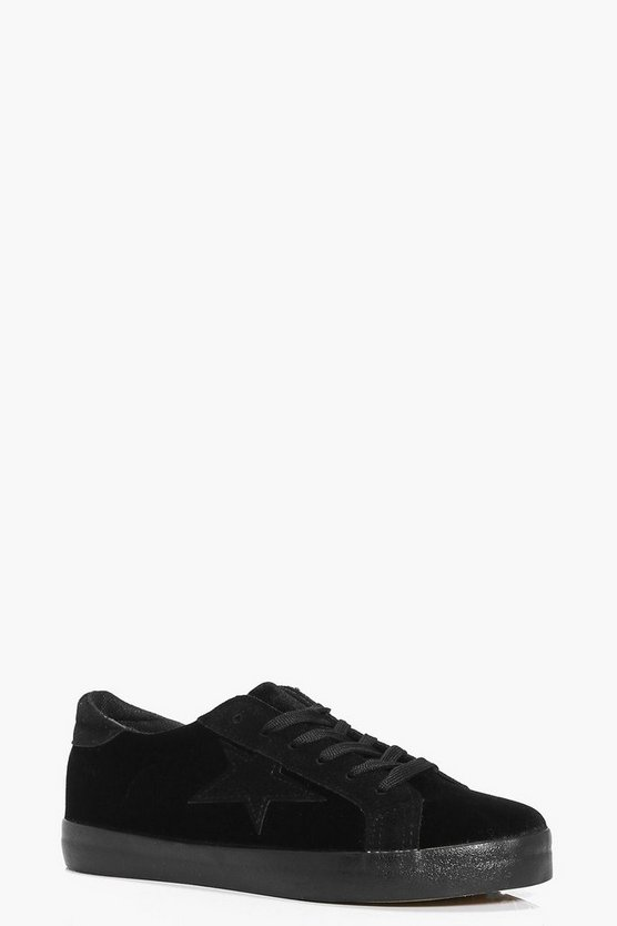 Daisy Velvet Star Lace Up Trainer