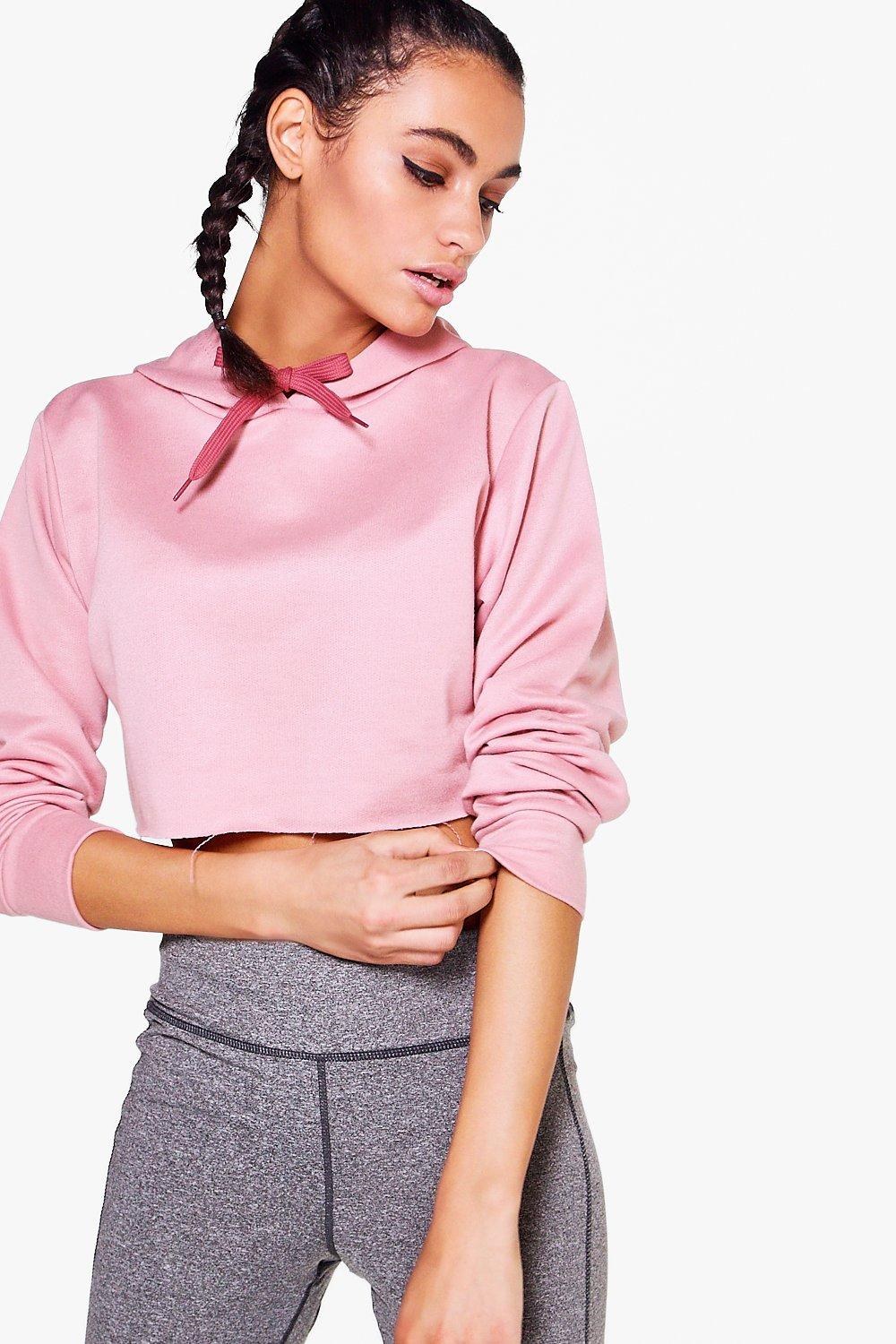 Violet Fit Hooded Crop Running Sweat