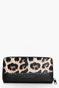Sofia Animal Print Zip Around Purse