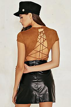 Annabel Suedette Lace Up Back Bodysuit