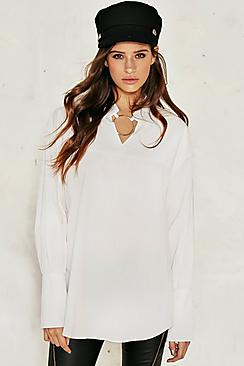 Cotton Woven Circle Ring Oversized Shirt
