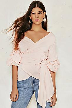 Eleanor Woven Frill & Wrap Rouche Top