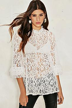 Mia Premium Lace Frill Sleeve Top