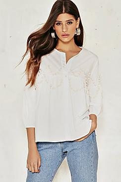 Rose Embellished Pearl Look Smock Blouse