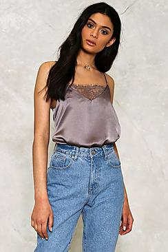 Summer Lace Insert Satin Cami Top