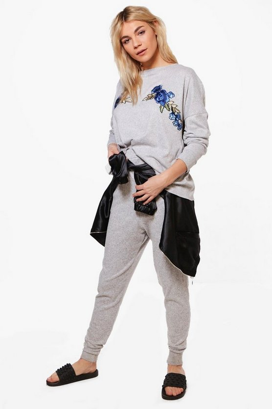 Alisha Floral Applique Raw Hem Lounge Set