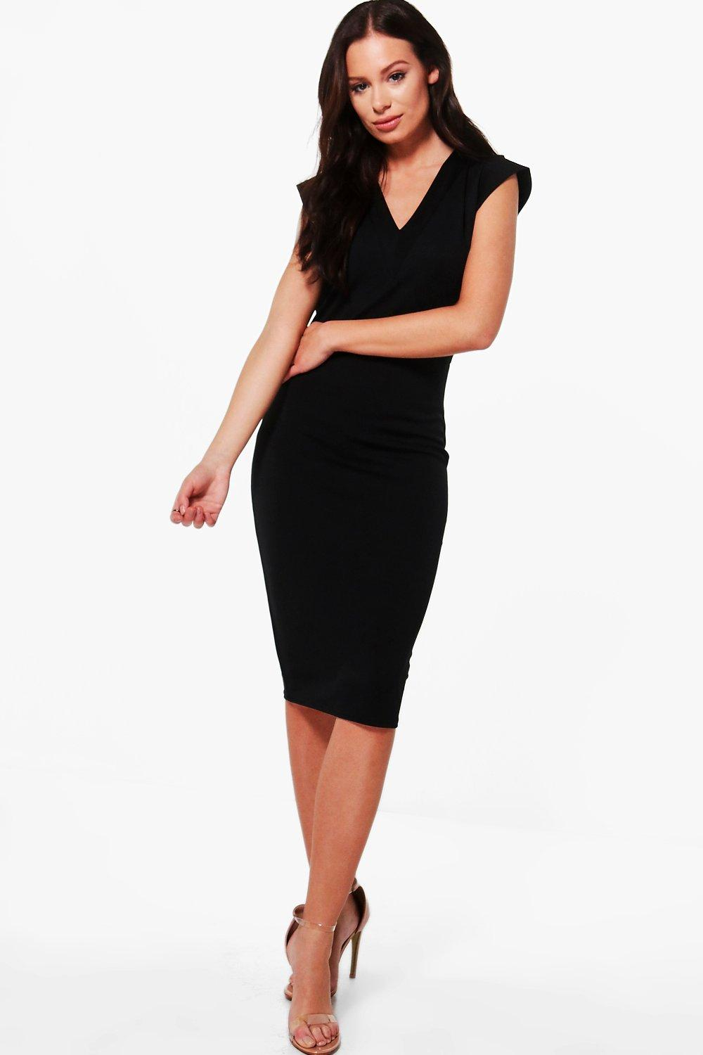 NEW-Boohoo-Womens-Hannah-Tailored-Fitted-Midi-Dress-in