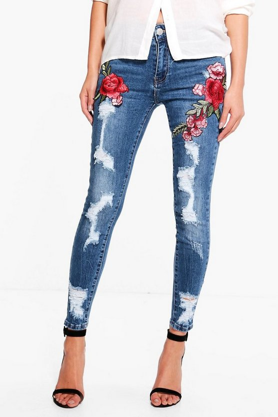 Jen Distressed Embroidered Skinny Jeans