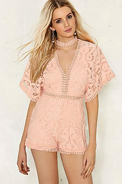 Lorna Crochet Choker Playsuit