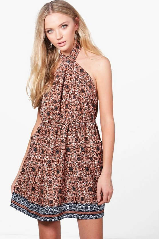 Bianca Halterneck Printed Skater Dress