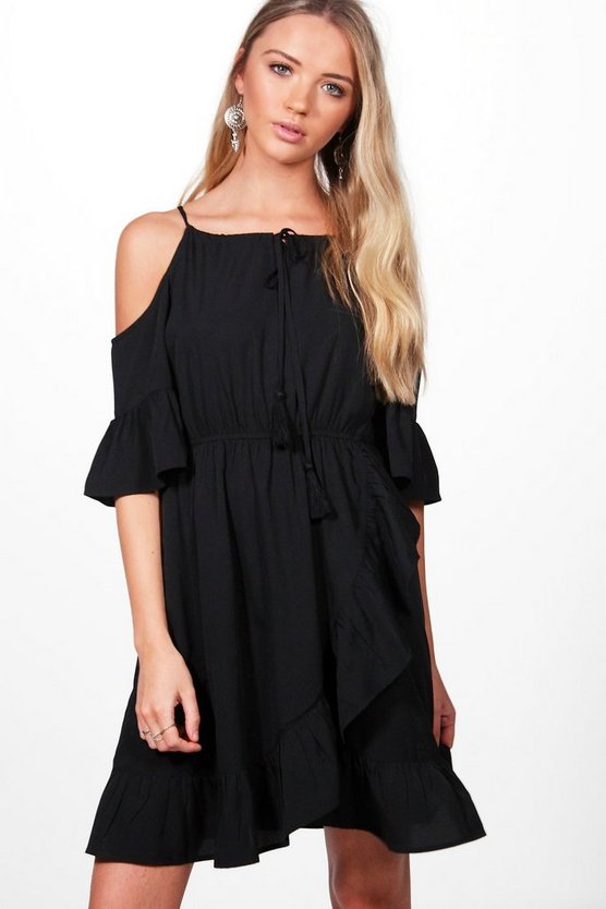 Em Halterneck Cold Shoulder Frill Skater Dress