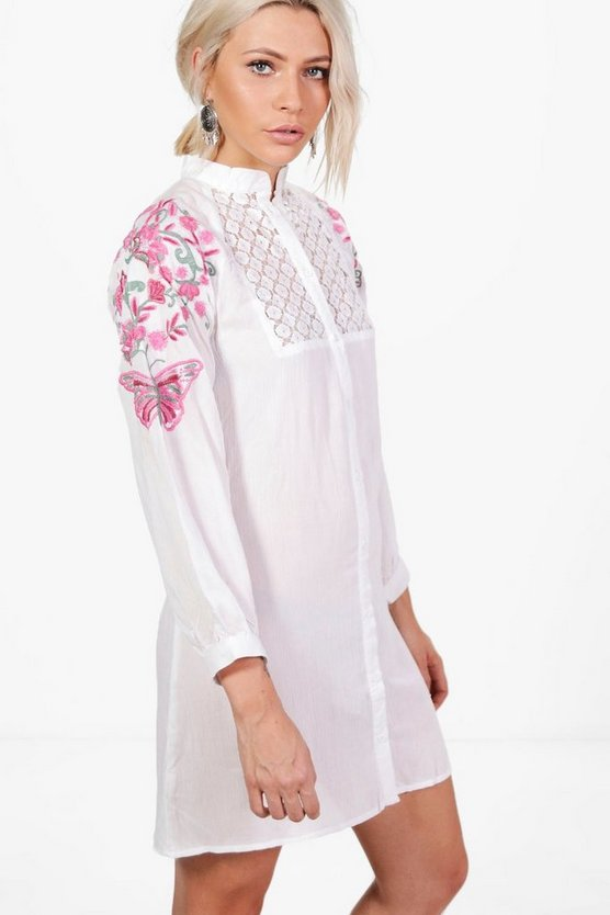 Oana Lace Insert Embroidered Shirt Dress