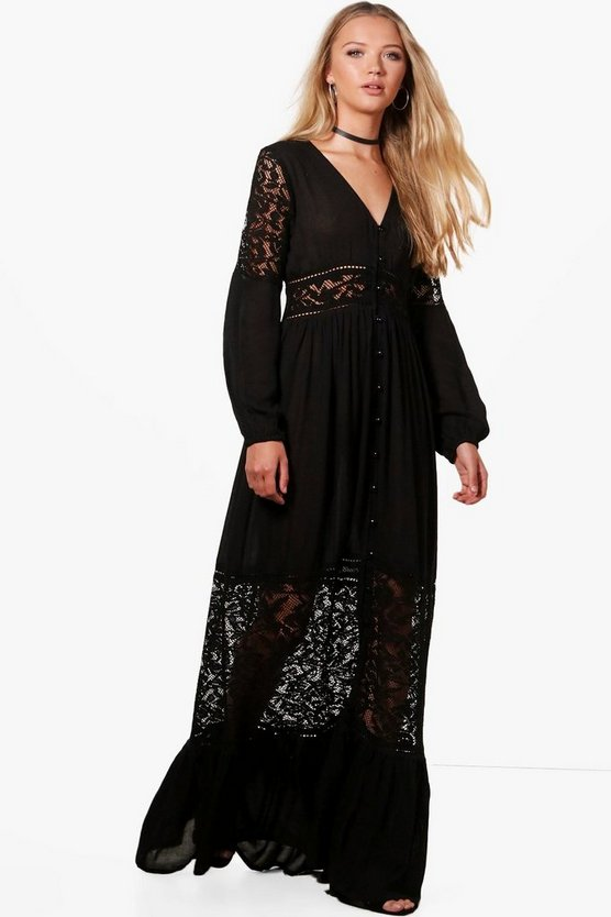 Paige Lace Insert Western Maxi Dress