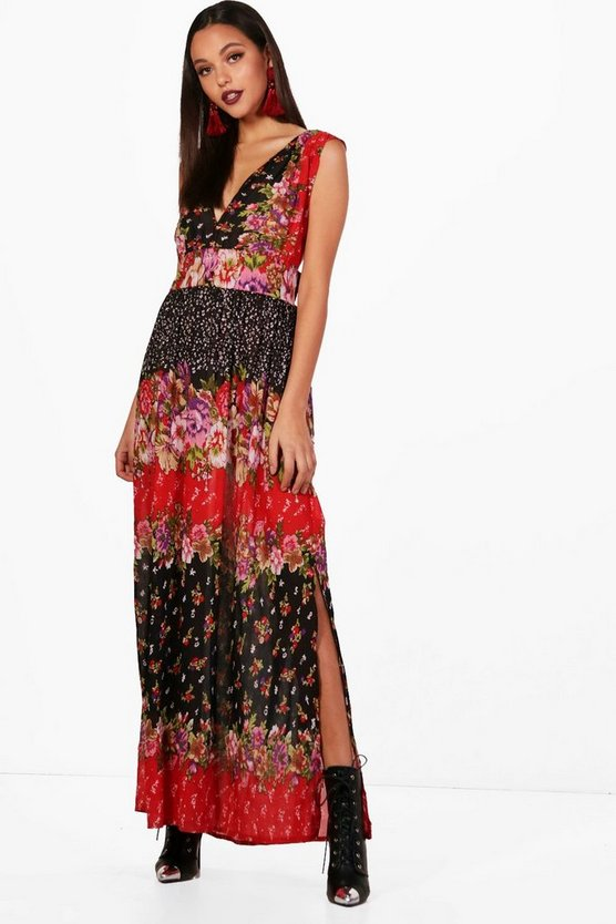 Floral Printed Cross Back Maxi Dress