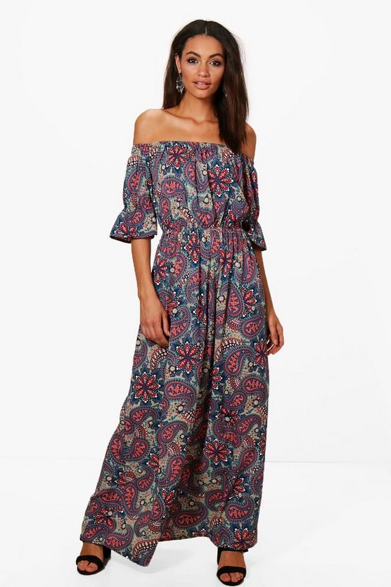 Neve Off Shoulder Paisley Print Maxi Dress