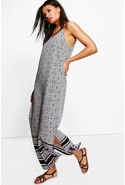 Milly Border Print Strappy Maxi Dress