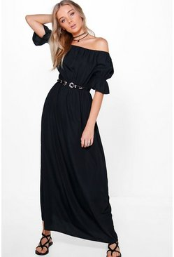 Loren Off Shoulder Fril Sleeve Maxi Dress