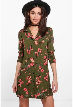 Sophia Oriental Floral Print Shirt Dress