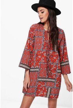 Lola Tie Front Paisley Western Shift Dress