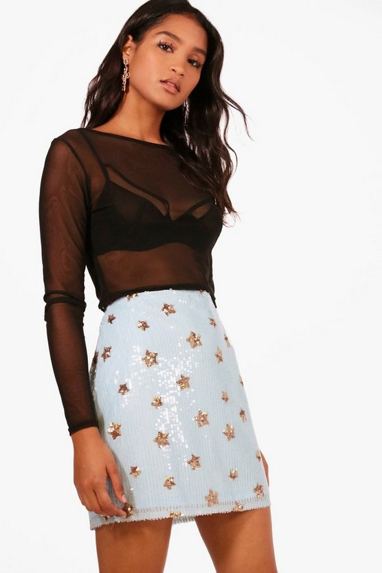 Ava All Over Star Sequin Mini Skirt