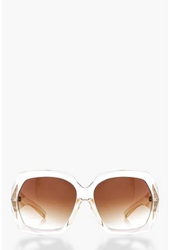 Faye Clear Frame Oversized Sunglasses
