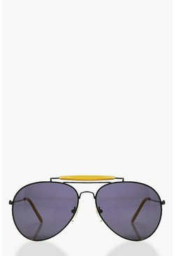 Lyla Contrast Brow Bar Aviator Sunglasses