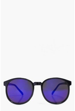 Sadie Mirrored Black Round Sunglasses