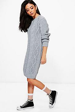 Maddison Cable Knit Jumper Dress
