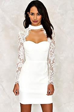 Lace Sleeve Bustier Dress