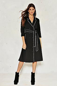 Lily Pyjama Style Satin Belted Dress