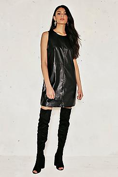 Eva Leather Look Side Tab Shift Dress
