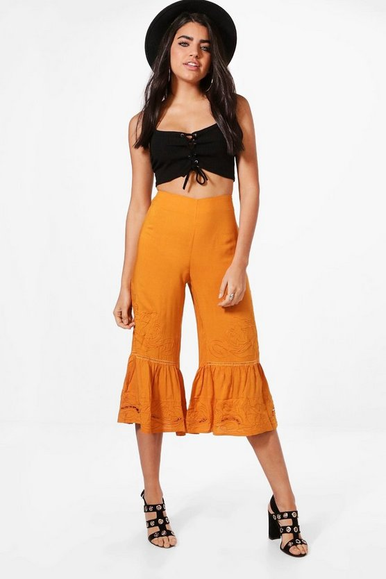 Embroidered Ruffle Hem Culottes