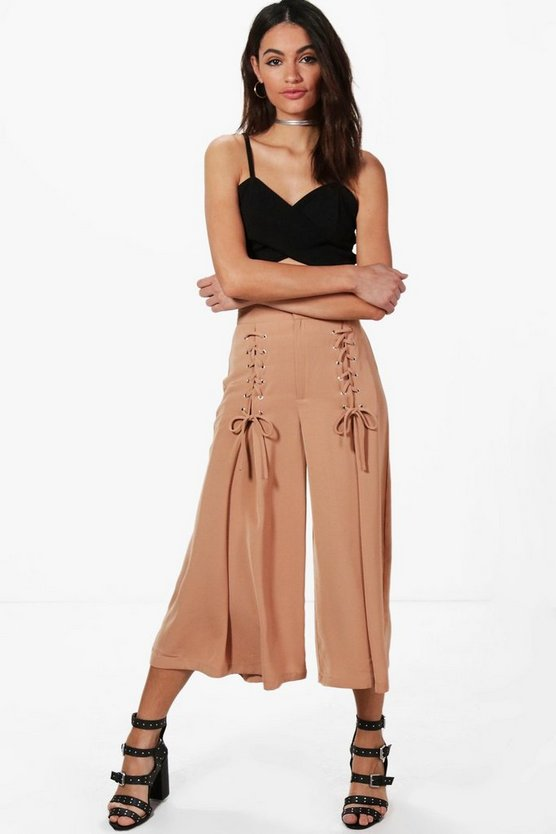 Rowen Lace Up Wide Leg Woven Culottes