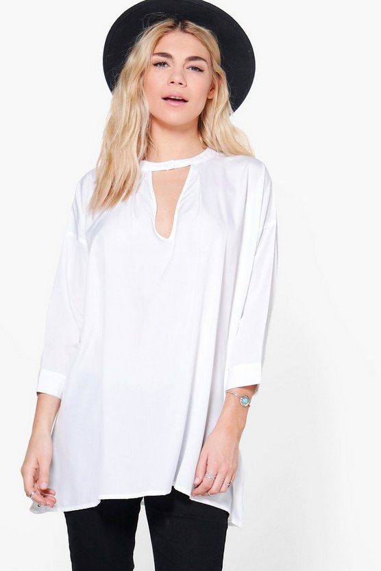 Peyton Plunge Neck Oversized Tunic