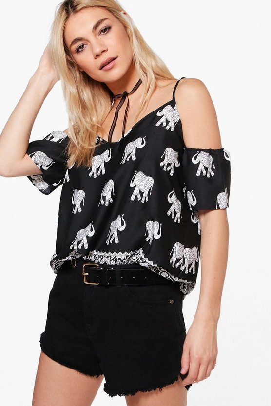 Isla Elephant Print Cold Shoulder Top