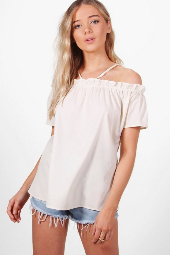 Lexi Ruffle Sleeve Cold Shoulder Top