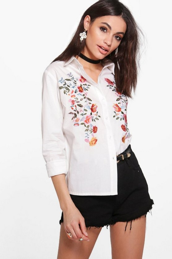 Avery Boutique Embroidered Dipped Back Shirt