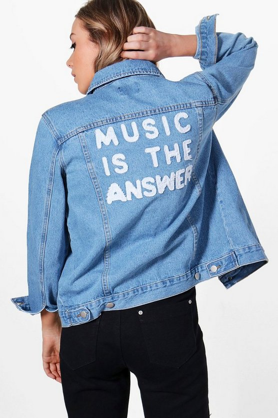 Jodie Oversize Slogan Back Denim Jacket