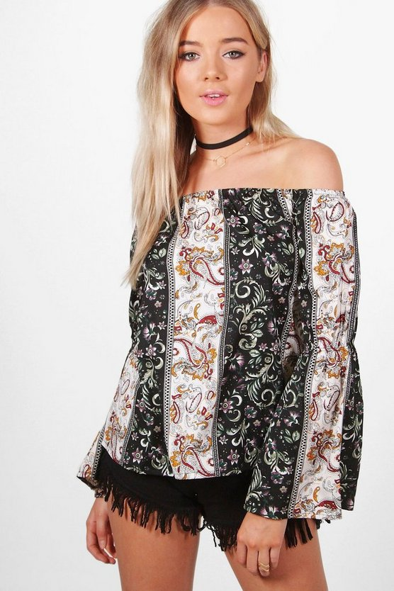 Melissa Mixed Print Off The Shoulder Top