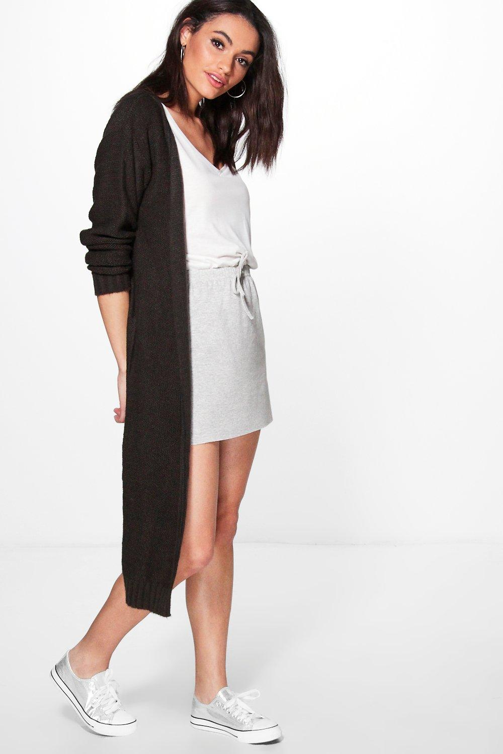 Soft Knit Maxi Cardigan  charcoal