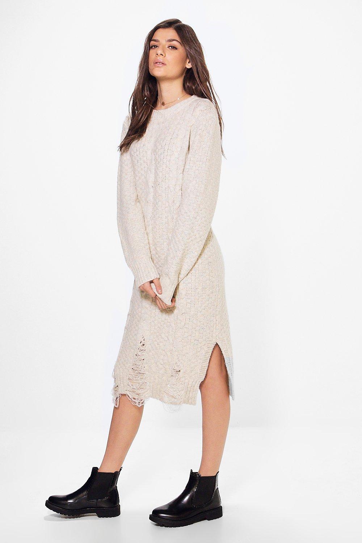 Oversized Cable Knit Jumper Dress  beige