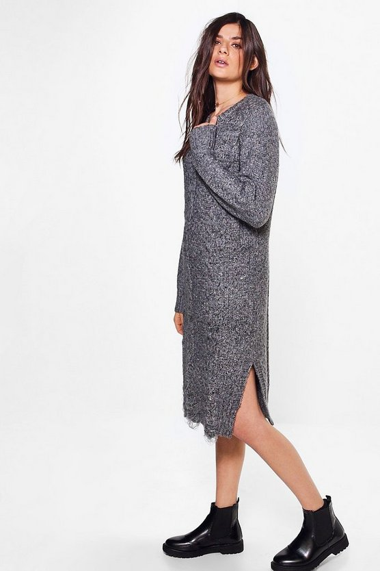 Niamh Oversized Cable Knit Jumper Dress