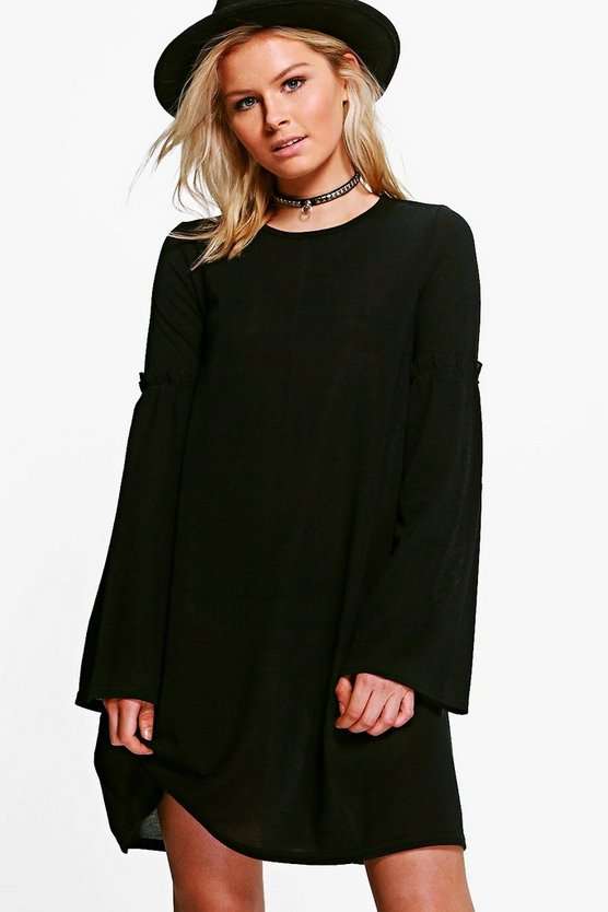 Olivia Ruffle Flare Sleeve Swing Dress