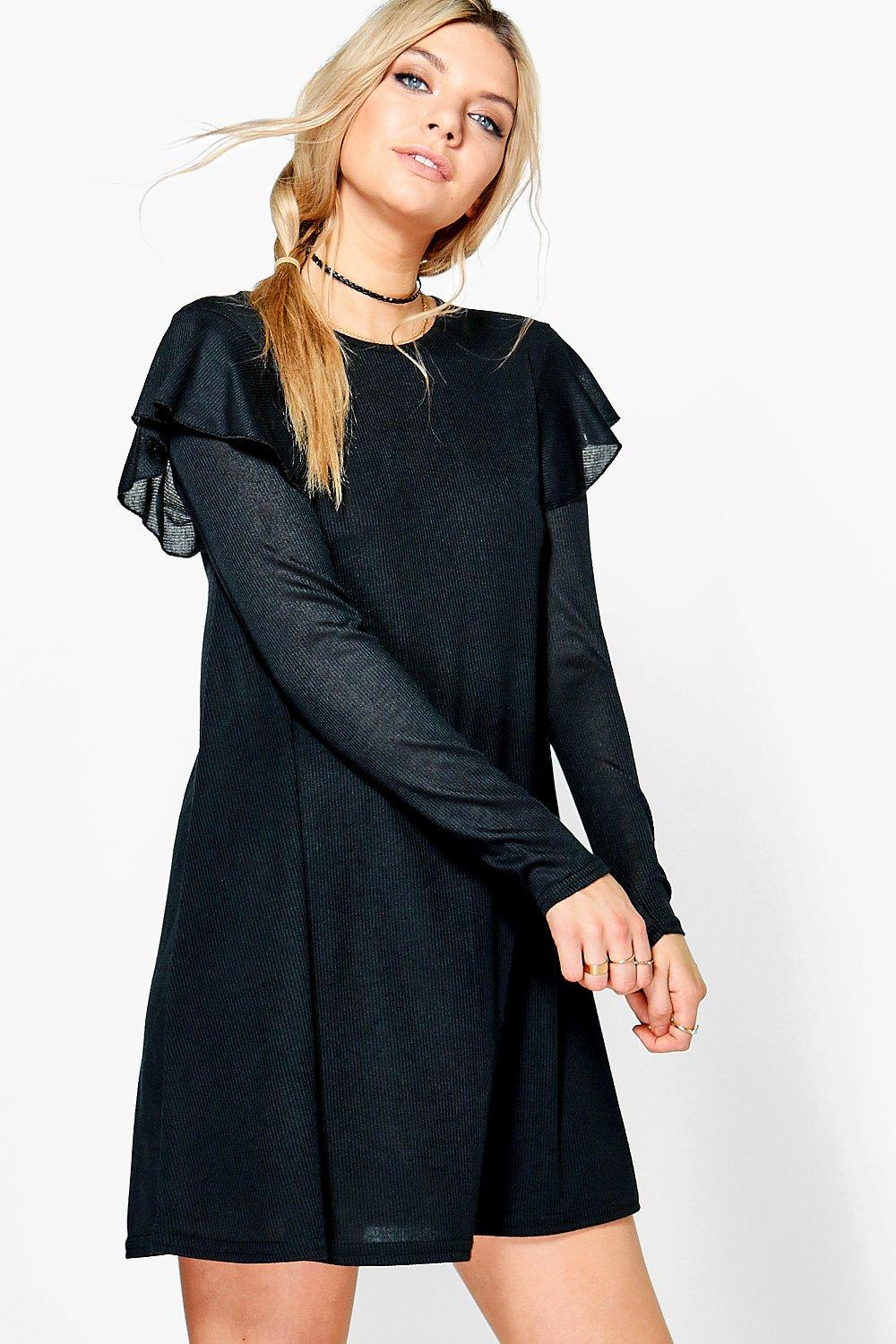 Alice Ruffle Shoulder Rib Knit Swing Dress