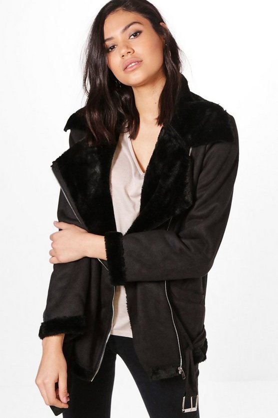 Mia Boutique Bonded Aviator Jacket