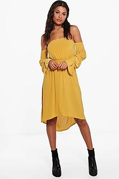 Daisy Off Shoulder Blousen Sleeve Midi Dress