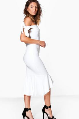 Aly Tie Sleeve Off Shoulder Peplum Midi Dress