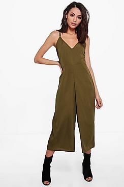 Lexie Jumpsuit mit schmalen Trägern und Hosenrock - Boohoo.com